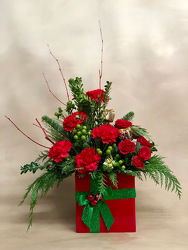 Red and Green Present from Kinsch Village Florist, flower shop in Palatine, IL